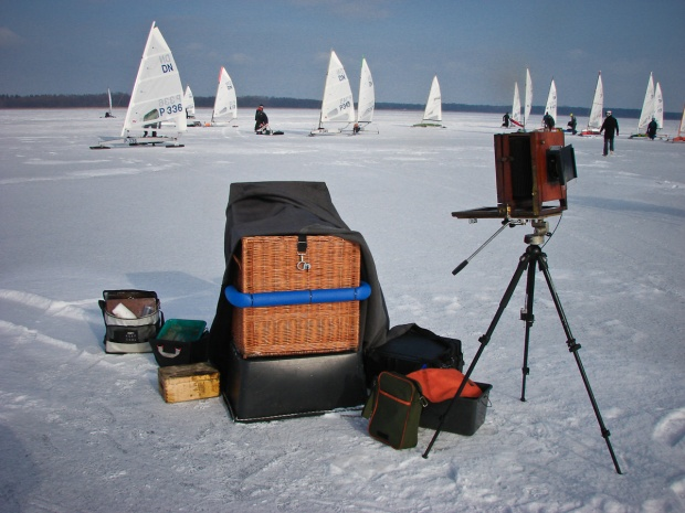 collodion equipment on ice - during Polish ice yacht chamionship